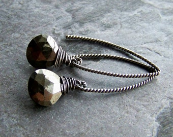 Pyrite Earrings-Wire Wrapped-Organic Jewelry-Rustic Jewelry-Minimalist, Sterling Silver-Oxidized, Gemstone Earrings