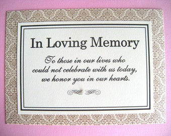 CLEARANCE 5x7 Flat Printed In Loving Memory Wedding Paper Sign in Gold Damask and Cream - Ready to Ship