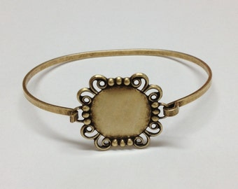 Bangle Bracelet Blank - Brass Ox Filigree Hinge Top Cuff Bangle Bracelet Blank Base with 18mm Round Setting