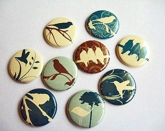 9 Bird Fridge Magnets, Wine Charms, Pins, Home & Living, Kitchen, Organization, silhouette, blue, brown and vanilla 1114