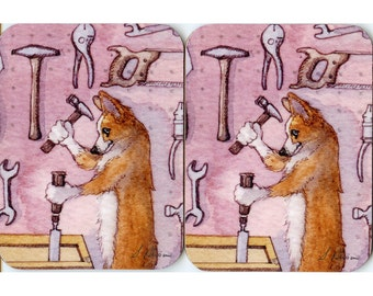 2 x Welsh corgi dog coasters -  carpenter woodwork hammer cabinet maker tools shed DIY from a Susan Alison watercolor painting