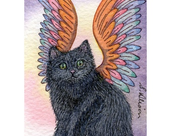 Black cat angel signed ACEO print