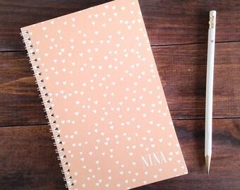 heart confetti personalized notebook