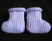 Light Purple and White Baby Booties, Hand Knit Baby Booties
