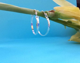 One inch sterling silver hoop earrings silver hoops sterling hoops hooplets