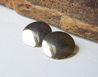 Clip On Earrings, Vintage Earrings, Etsy Vintage, Gold Plated Disc Earrings, Clip On Gold Plated Disc Earrings, Etsy, Etsy Jewelry