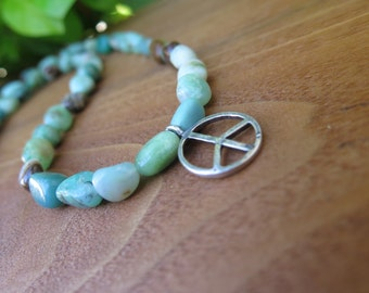 Chrysoprase and Turquoise Sterling Silver Peace Necklace -  Funky Crystal Boho Jewelry -  Stone OOAK Jewels - Rich Luxury - Green Blue