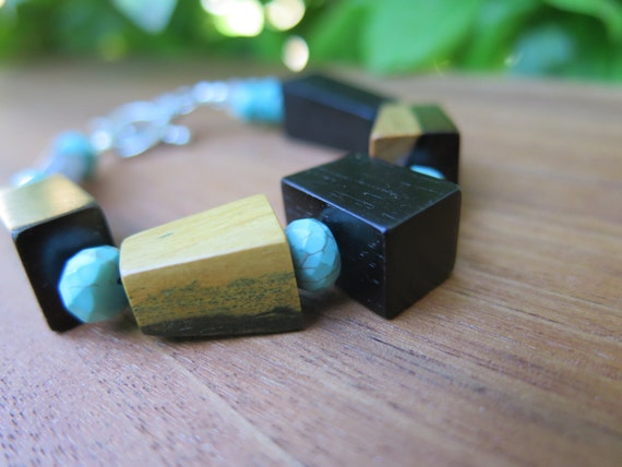 Echo - Turquoise and Wood Geometric Beaded Bracelet - Bohemian Jewelry - Tiny Wrist - Labradorite Moonstone - Funky Boho Women's Accessories