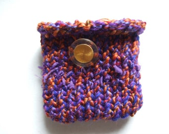 Purple red  and orange Mini  Knit Bag and gadget case