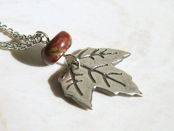 Jasper Fall Leaf Unique Necklace sterling chain autumn handmade recycled Fine Silver pendant nature earthy natural stone