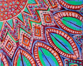 Original Visionary Mandala Art: A Piece of The Sun Inspirational Meditative Reflective