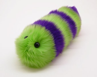 Stuffed Caterpillar Stuffed Animal Cute Plush Toy Caterpillar Kawaii Plushie Mo the Green and Purple Snuggle Worm Toy, Medium 6x18 Inches