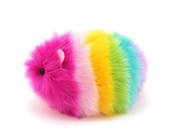 Stuffed Animal Cute Plush Toy Guinea Pig Kawaii Plushie Girly Rainbow Easter Egg Snuggly Faux Fur Guinea Pig Large 6x10 Inches