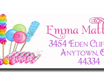 Candy Return Adress Labels, Candy Circus, cupcake, lollipop, candy, Address Labels Children, Set of 60