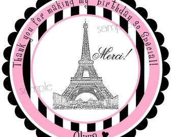 French Stickers, Eiffel Tower Stickers, French Birthday party, Kids, little girls, pink and black, favor labels, gift stickers,set of 12