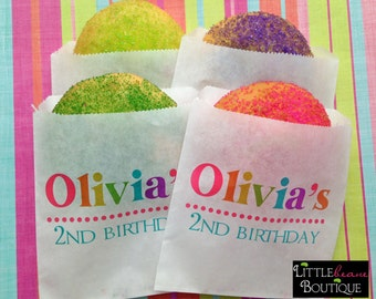 Personalized Cookie bags, custom name cookie bags, Rainbow party favors, Cookie favors, Rainbow, favor bag, Birthday party, Sweets, Treats