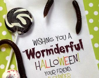 Halloween Favor Bags, Worm Favor bags, Dirt and Worms, Halloween treat bags, halloween  favors, preschool,class treats,Treat bags