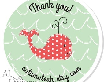Personalized Labels -- Whale -- Personalized Whale Labels, Personalized Labels, Personalized Thank You Labels -- Choice of Size