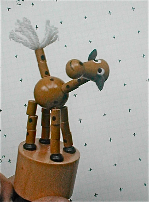 Wooden Giraffe Collapsible String Puppet Vintage 60s