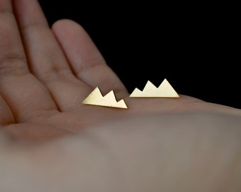 Into the Mountains - mountain shape stud brass earrings with sterling silver posts
