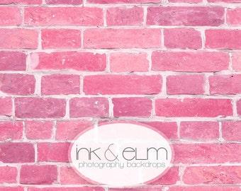 "Pink Brick Backdrop 5ft x 5ft, Pink Brick Wall Vinyl Photography Backdrop, Newborn Prop, Pink Brick Background, Prop, ""Princess Pink Brick"""