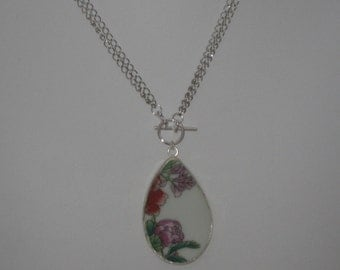 Spring- Pottery Shard Necklace - Convertible made from eco friendly upcycled Chinese porcelain