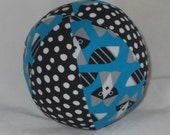 New!  Small Organic Picture Pie Raccoon Fabric Ball Rattle