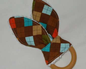 Brown Argyle Rabbit Ears Wooden Teething Ring