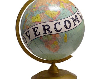 Vintage Globe Art, Overcome, Bird, World Globe Art