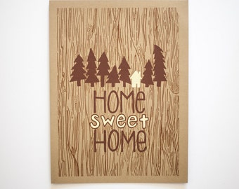 home sweet home woodgrain print
