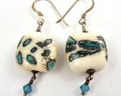 Lampwork Earrings, Blue Earrings, Green Earrings, Teal Earrings, Colorful Earrings, Dangle Earrings