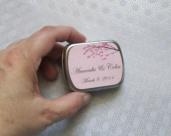Tin Labels - Mint Tins Favor - Wedding Reception - Bridal Shower - Sweet or Candy Tin Labels CHERRY BLOSSOMS (1 sheet = 15 labels)