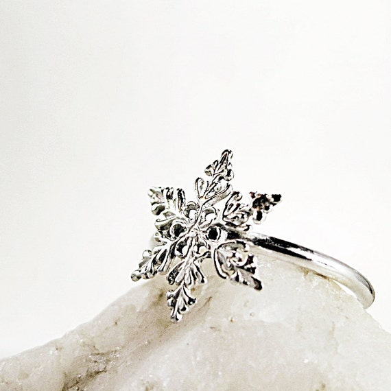 snowflake ring sterling silver winter jewelry stackable