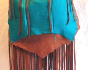"Fringed COMICON Purse in Softest Brown Turquoise Deerskin Designer Handbag in Leather Fringe ""BUTTRFLY WINGS"" Handmade by Debbie Leather"