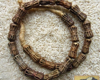 Lost Wax Brass Bead Strand, 25 mm, Cast Tribal Cage, Ghana, Item JE25