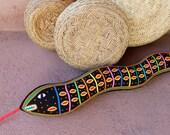 Stellar Mola Snake - SALE - Collaborative Kuna Indian Reverse Applique Textile Art Pillow
