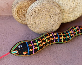 Stellar Mola Snake - SALE - Collaborative Kuna Indian Reverse Applique Textile Art Pillow