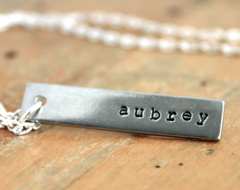 Name necklace - Hand stamped Mothers jewelry - Kids names -Rectangle bar - Long and layered - Personalized gift for wife girlfriend mom
