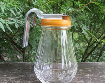 Vintage Syrup Pitcher - Glass Plastic Metal Pitcher - 1950s Serving Piece