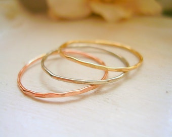 Tri Color Dainty Stacking Ring 14K Yellow, White and Rose Gold Very Thin Rings Hammered & Slightly Wavy - made to order in your finger size