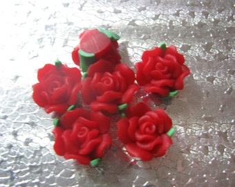 12 Red Rose Beads  15mm Polymer Clay Fimo Flower beads