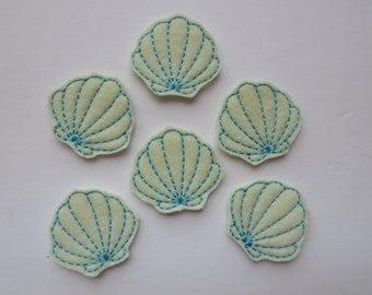 Cream colored Felt Seashells Embroidered Embellishment - 152