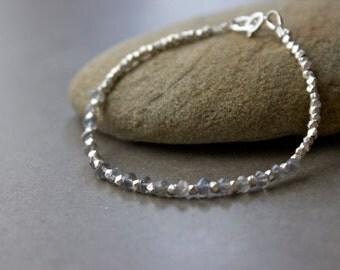 Labradorite Gemstone Bracelet, Chakra bracelet,  Silver delicate gemstone  bracelet, Layering bracelet,  Birthstone Bracelet