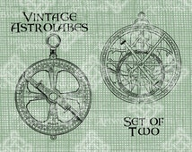 Digital Download Vintage Astrolabe Set of 2, Astrology digi stamp, Antique Illustration, Astrolabes Astronomy Sun Moon Sky digital transfer