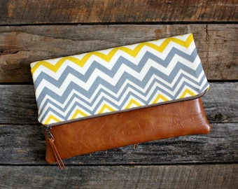 Yellow and Gray Chevron Foldover Clutch / Kindle Case