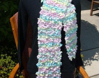 """Super Sale - """"Cotton Candy"""" Knitted Scarf 80"""" x 8"""" - FREE SHIPPING"""