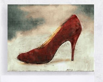 Still Life Shoe Art - Fashion Art - Red Brocade Stiletto Heels - 5x7 Canvas Print on Block or 7x10 Canvas Print - Women - Dressing Room Art