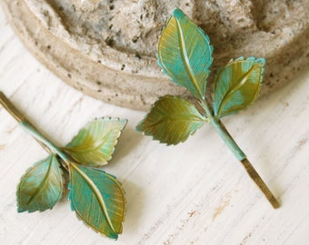 Woodland leaves. green leaf  hair pin set. Tiedupmemories