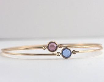 Choice of 2 Birthstone Gold Filled Bangle Bracelet, Gold Bracelet, Birthstone Bangle Bracelet, Birthstone Bracelet [#773]