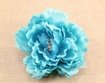 Large Turquoise Silk Flower, Millinery, Altered Couture, Hair Flowers, Pin, Wedding, Baby Headband